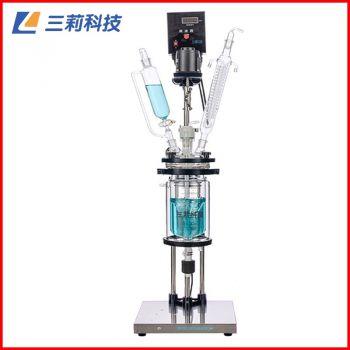 S212-5L双层玻璃反应釜 喷四氟防腐5升双层玻璃反应器